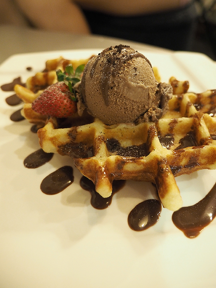 Waffles with Chocolate Ice Cream