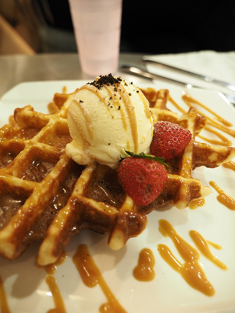 Waffles with Vanilla Ice Cream